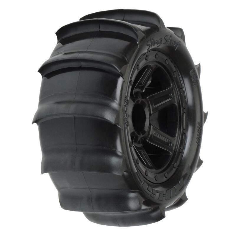 1/16 Sling Shot 2.2 Sand Tires Mounted Black Desperado Wheels: 1/16 E-Revo