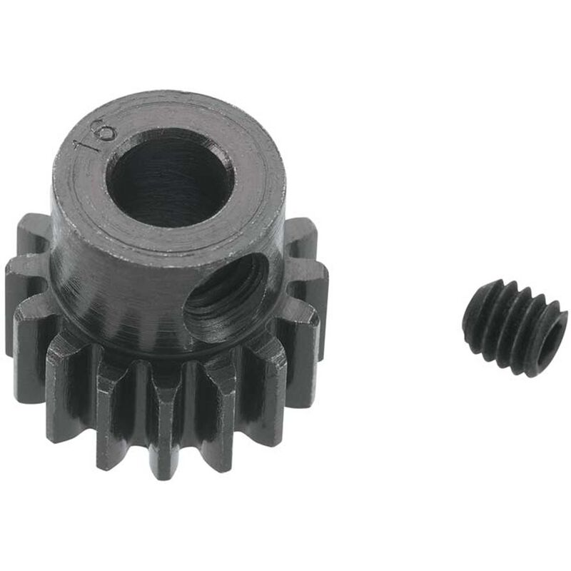 Extra Hard 16 Tooth Blackened Steel 32p Pinion, 5mm