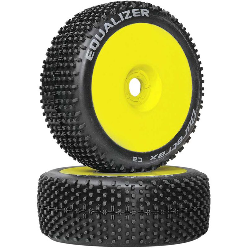 Equalizer 1/8 C2 Mounted Buggy Tires, Yellow (2)