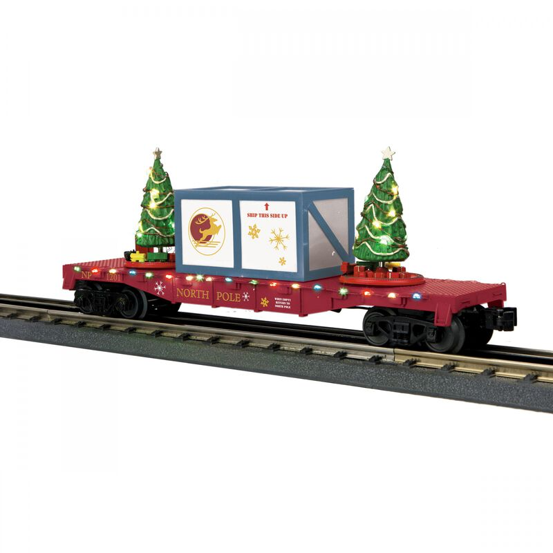 O-27 Flat Car with Lighted Trees North Pole Red