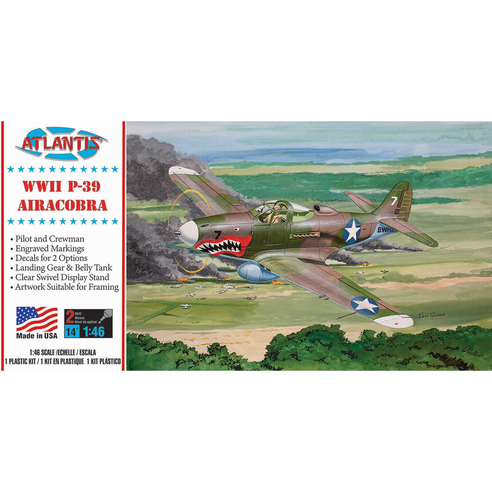 P-39 Bell Airacobra WWII Fighter, 1/46 Model Kit