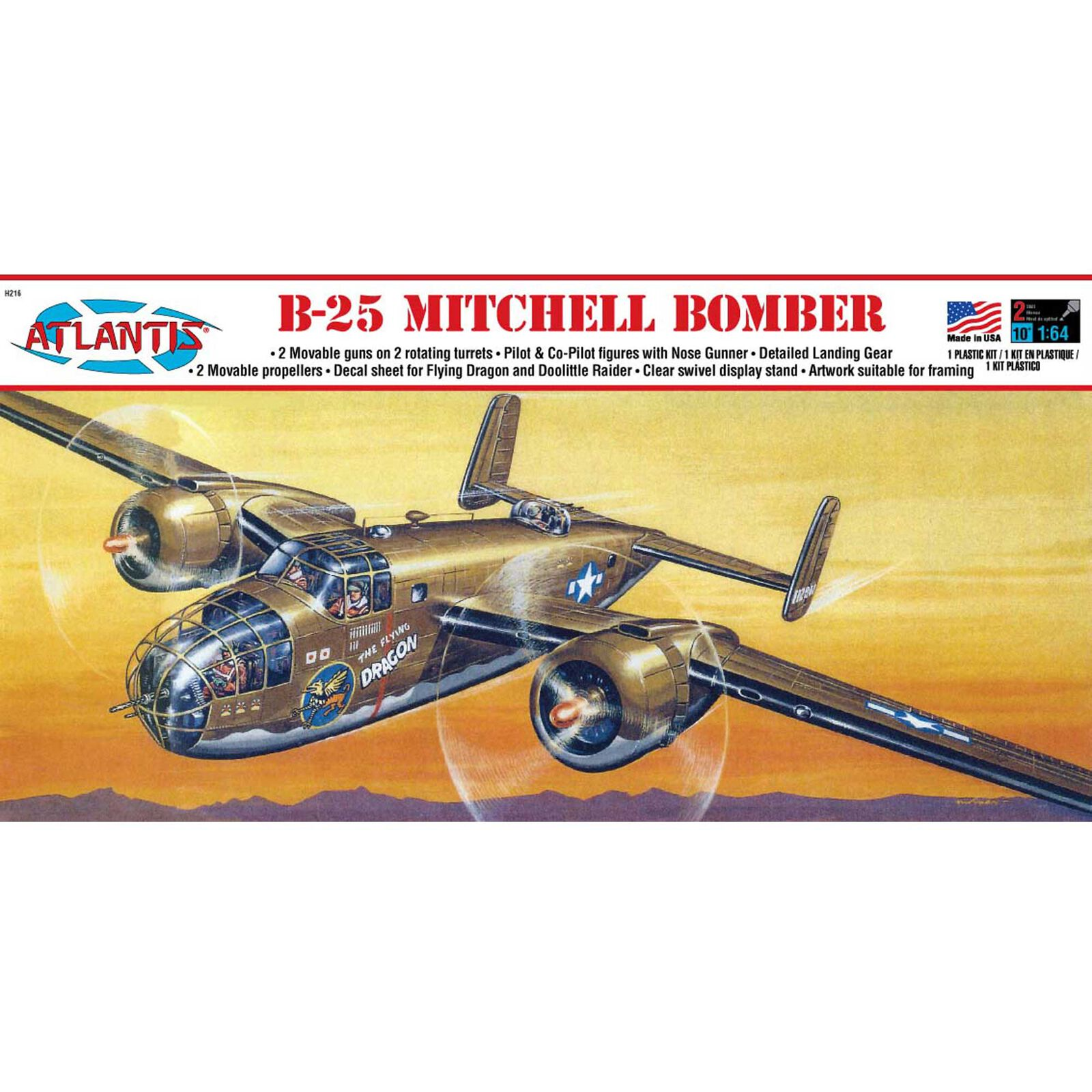 B-25 Mitchell Bomber Flying Dragon 1/64 Model