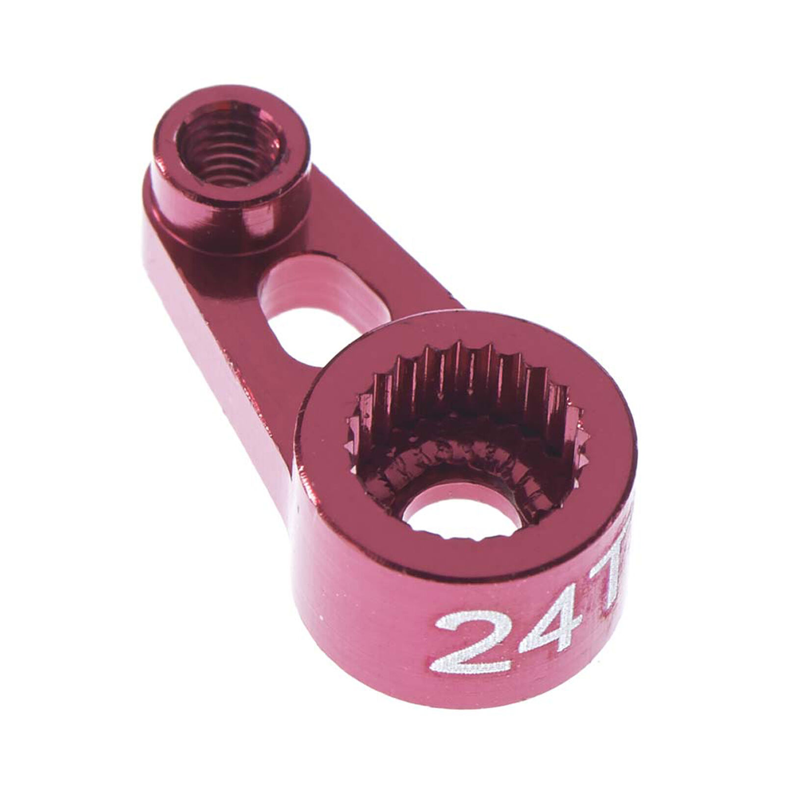 Aluminum Servo Horn, Red 24T: 1/16 Traxxas