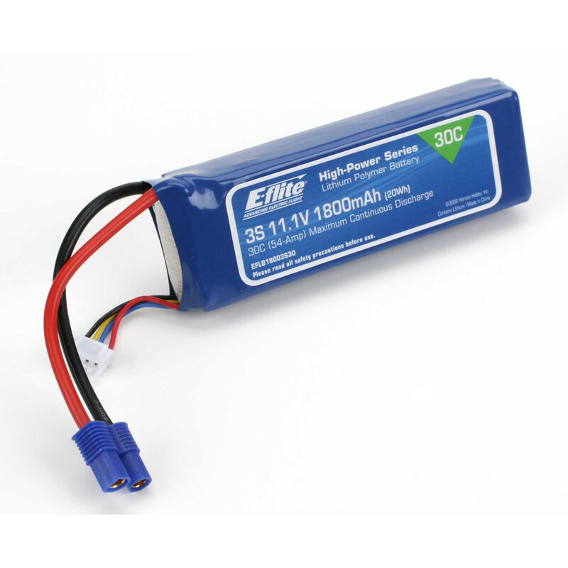 11.1V 1800mAh 3S 30C LiPo Battery: EC3