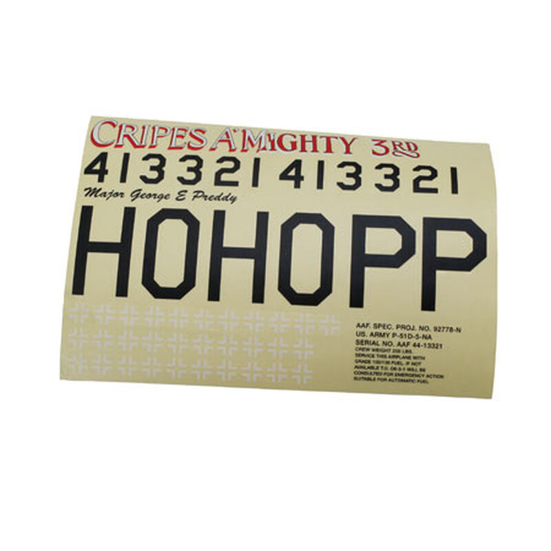 Decal Sheet: Cripes A'Mighty, P-51 60 Blue Nose ARF