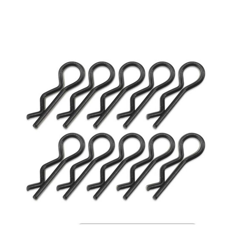 Compact Angled Body Clips, Black (10)