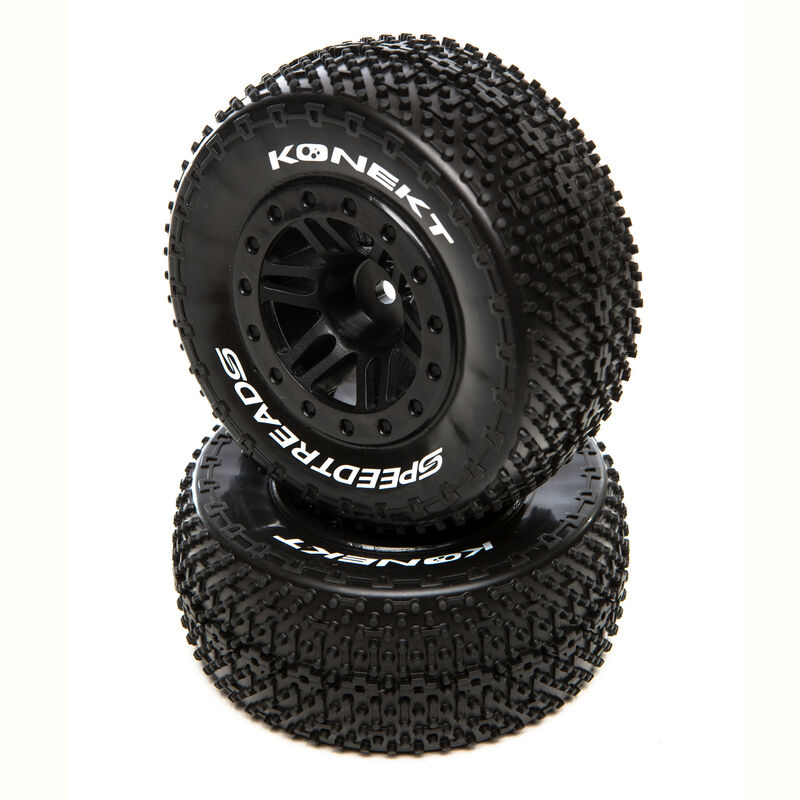 SpeedTreads Konekt SC Front Rear Black Mounted (2): Traxxas Slash/Rustler, ECX 4x4