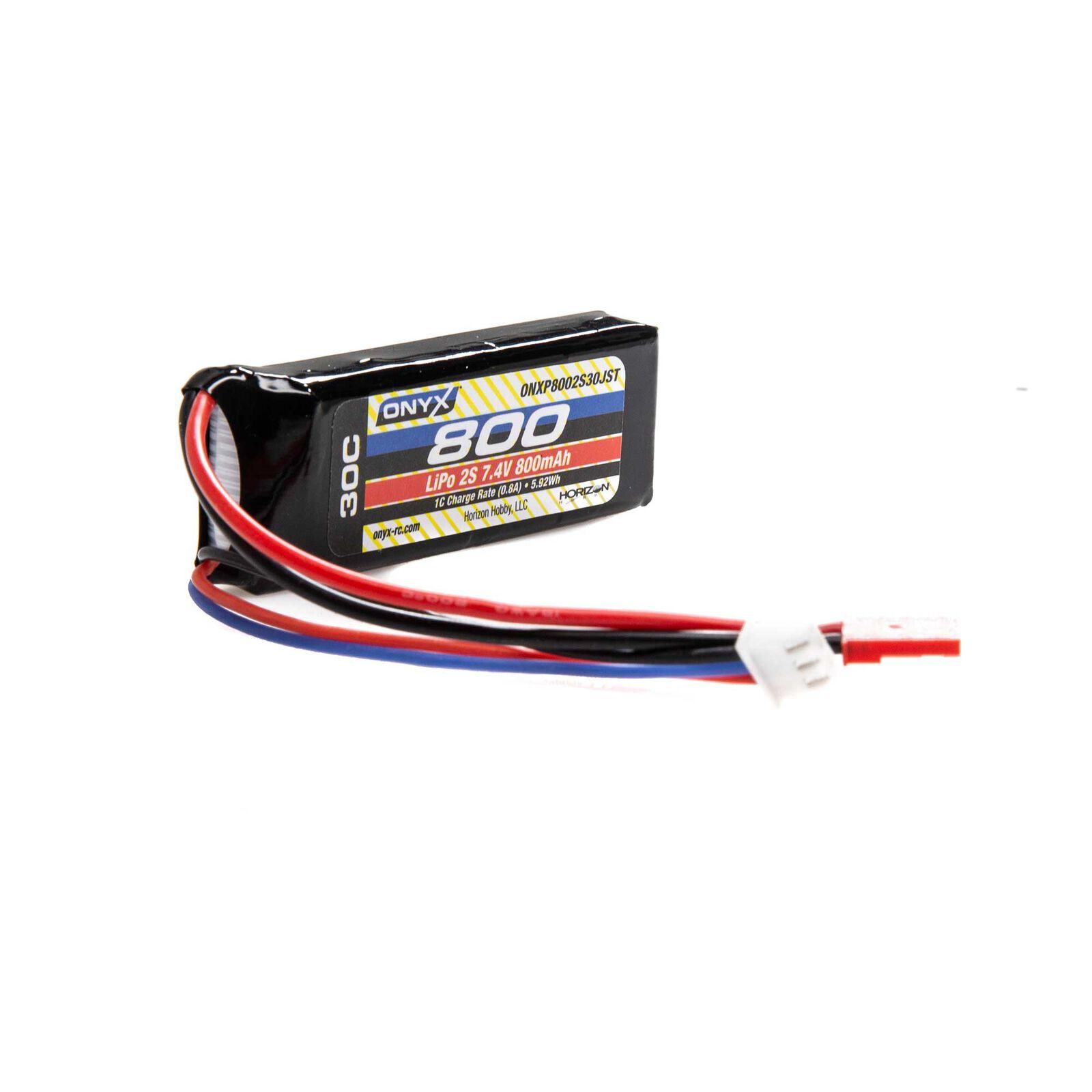 7.4V 800mAh 2S 30C LiPo Battery: JST