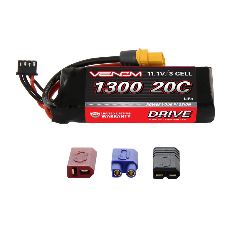 11.1V 1300mAh 3S 20C DRIVE LiPo Battery: UNI 2.0 Plug