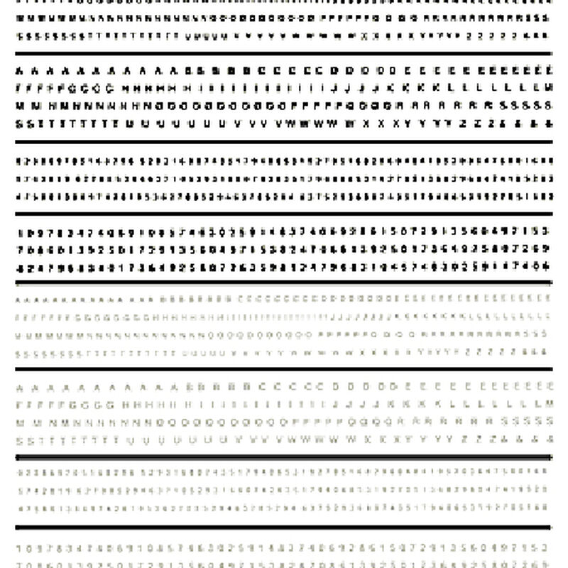 Mini Lettering Dry Transfer, Black/White