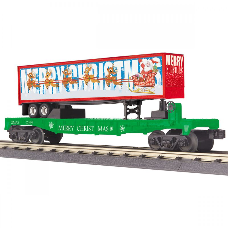 O-27 Flat Car with 40' Trailer Christmas