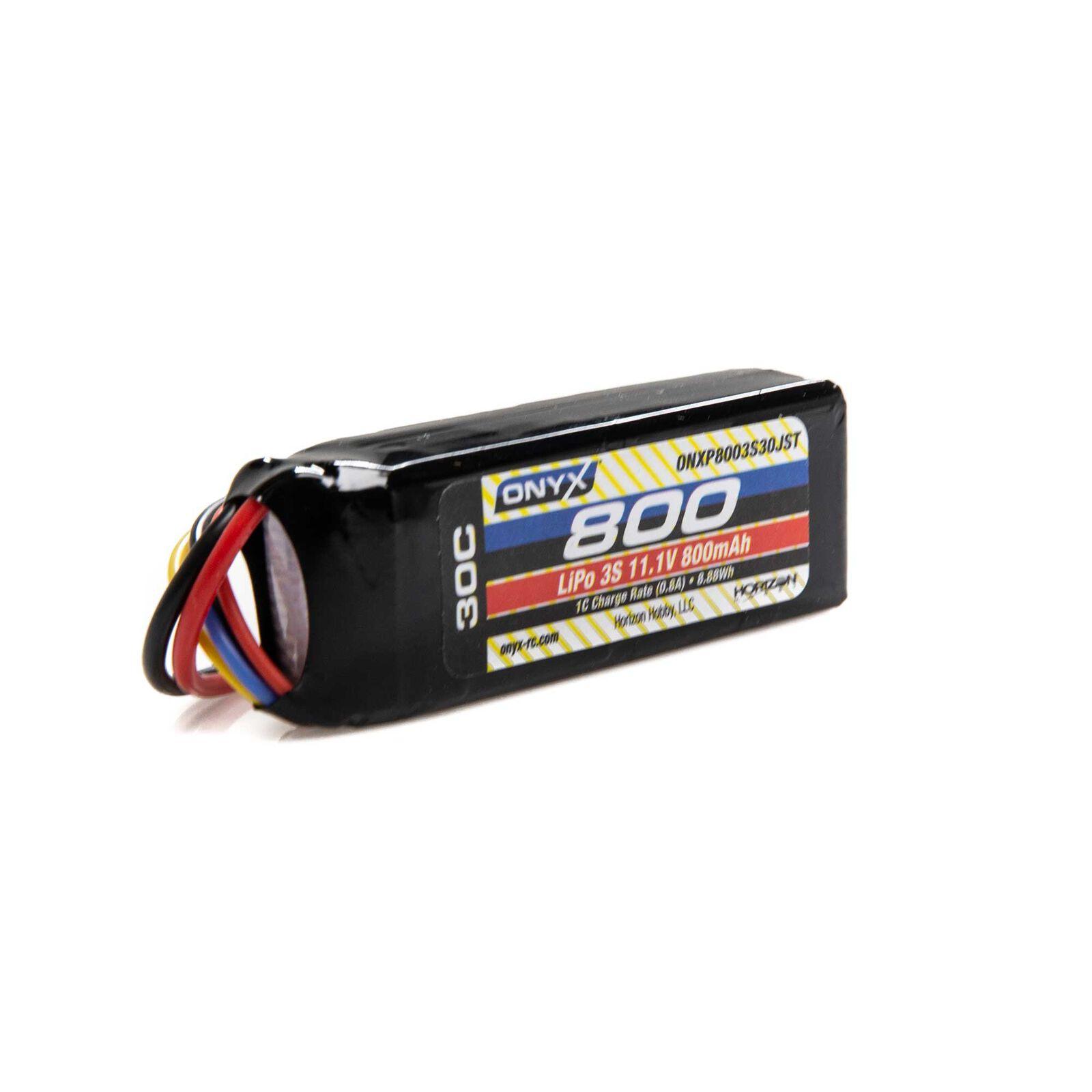 11.1V 800mAh 3S 30C LiPo Battery: JST