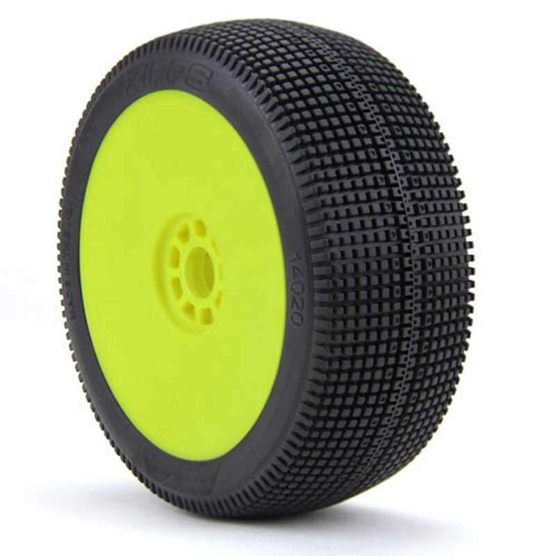 1/8 Buggy ZIPPS (Soft, Long Wear) EVO Mounted Tires, Yellow (2)