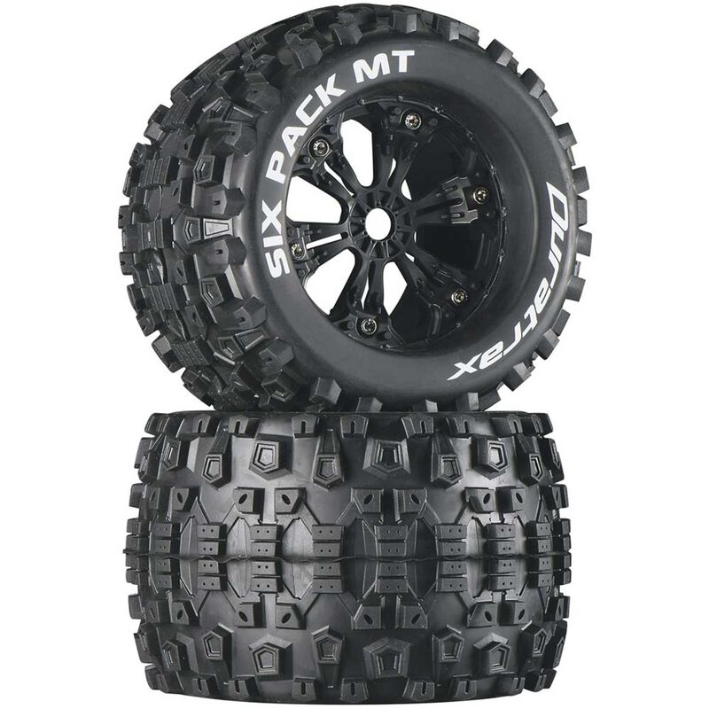 """Six-Pack MT 3.8"""" Mounted Tires, Black (2)"""