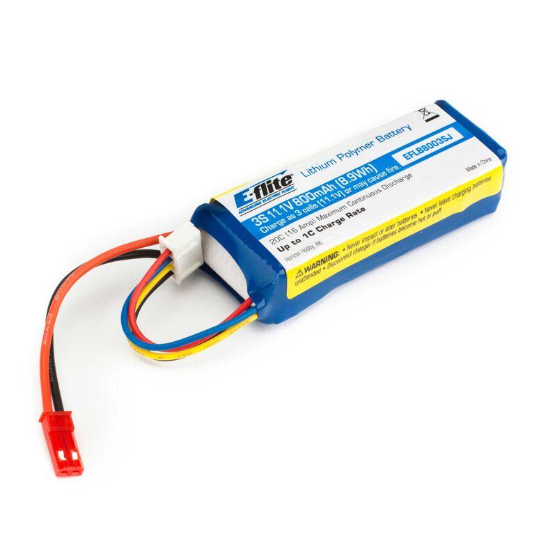 11.1V 800mAh 3S 20C LiPo Battery: JST