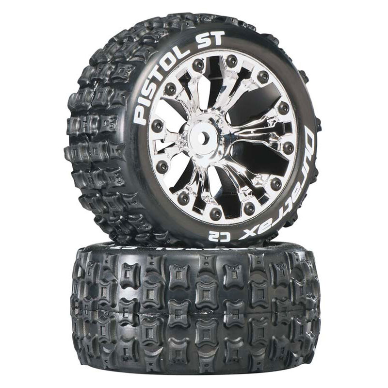 """Pistol ST 2.8"""" 2WD Mounted Rear C2 Tires, Chrome (2)"""