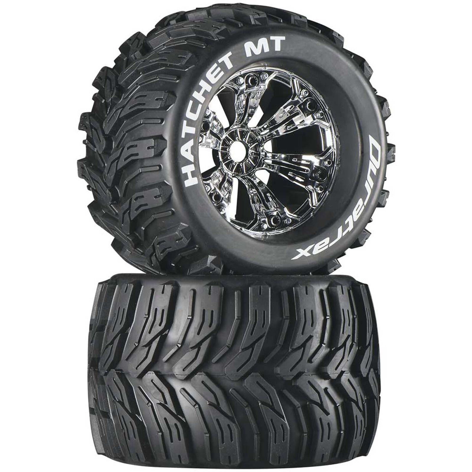 "Hatchet MT 3.8"" Mounted 1/2"" Offset  Tires, Chrome (2)"