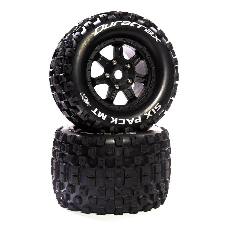 """Six Pack MT Belt 3.8"""" Mounted Front/Rear Tires 0 Offset 17mm, Black (2)"""