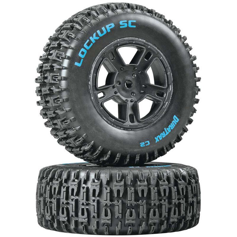 Lockup SC Tire C2 Mounted Black Rear: SC10 (2)