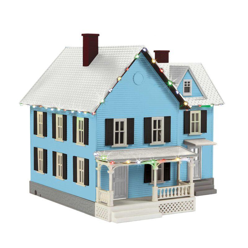 O #6 Farm House w Operating Christmas Lights Blue