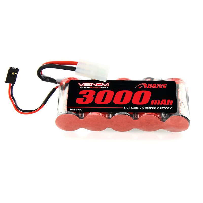 6.0V 3000mAh 5-Cell DRIVE Large Scale Receiver Battery: Universal Receiver, Tamiya