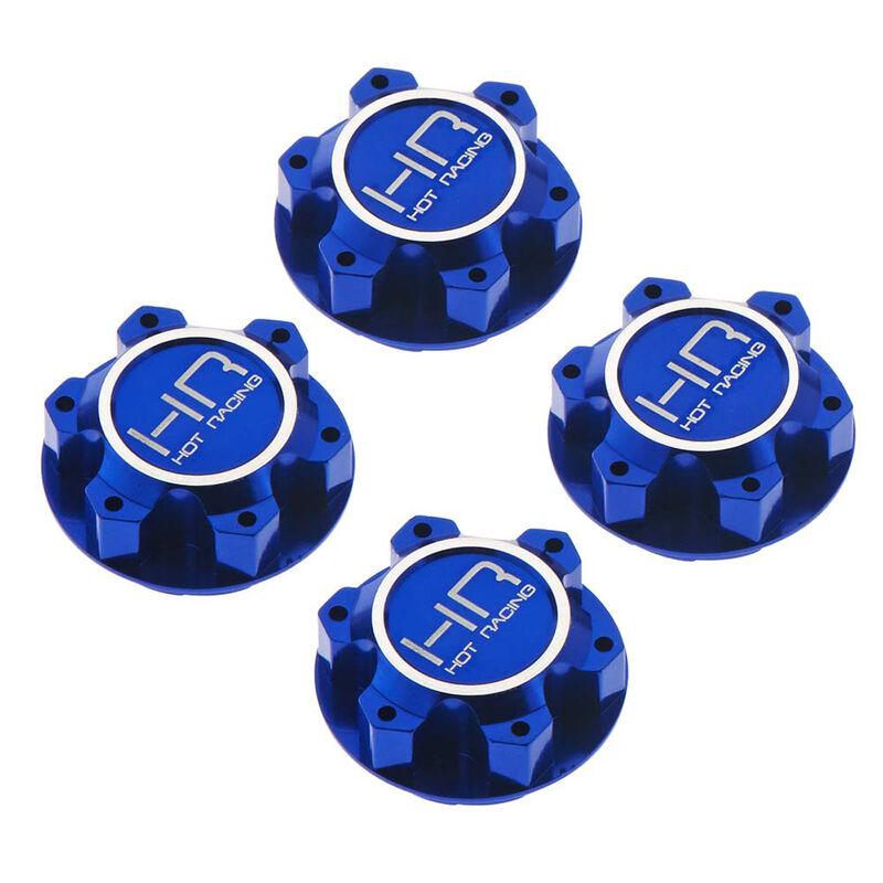 Aluminum 25mm Hex Serrated Nut, Blue: X-Maxx