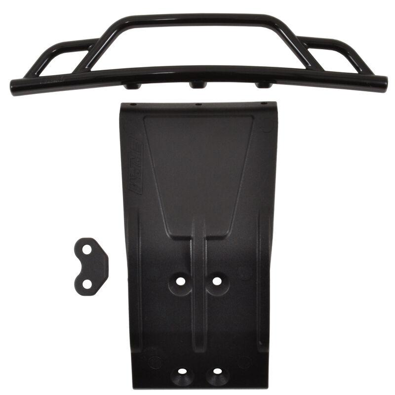 Front Bumper and Skid Plate, Black: Losi SCTE