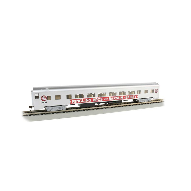 HO 85' Smooth Side Coach Lighted Ringling Bros Red