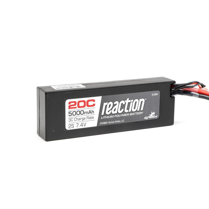 7.4V 5000mAh 2S 20C Reaction Hardcase LiPo Battery: EC3