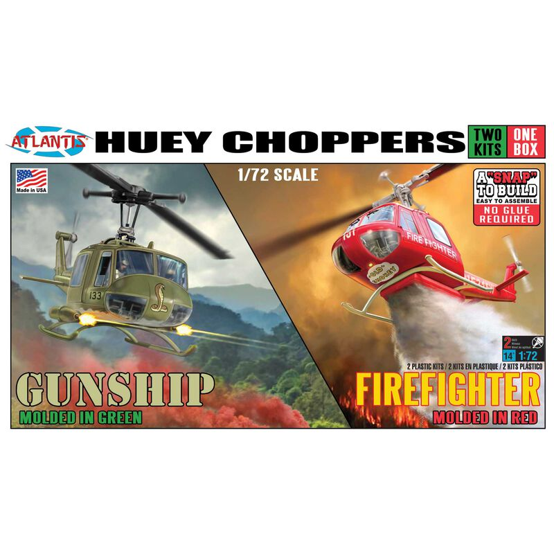 Huey Chopper 2 Pack Fire Fighter and Gunship 1/72