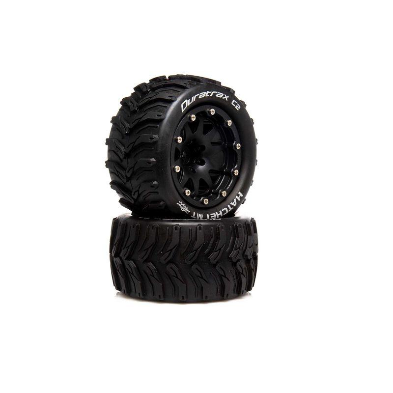 """Hatchet MT Belted 2.8"""" 2WD Mounted Rear Tires, .5 Offset, Black (2)"""