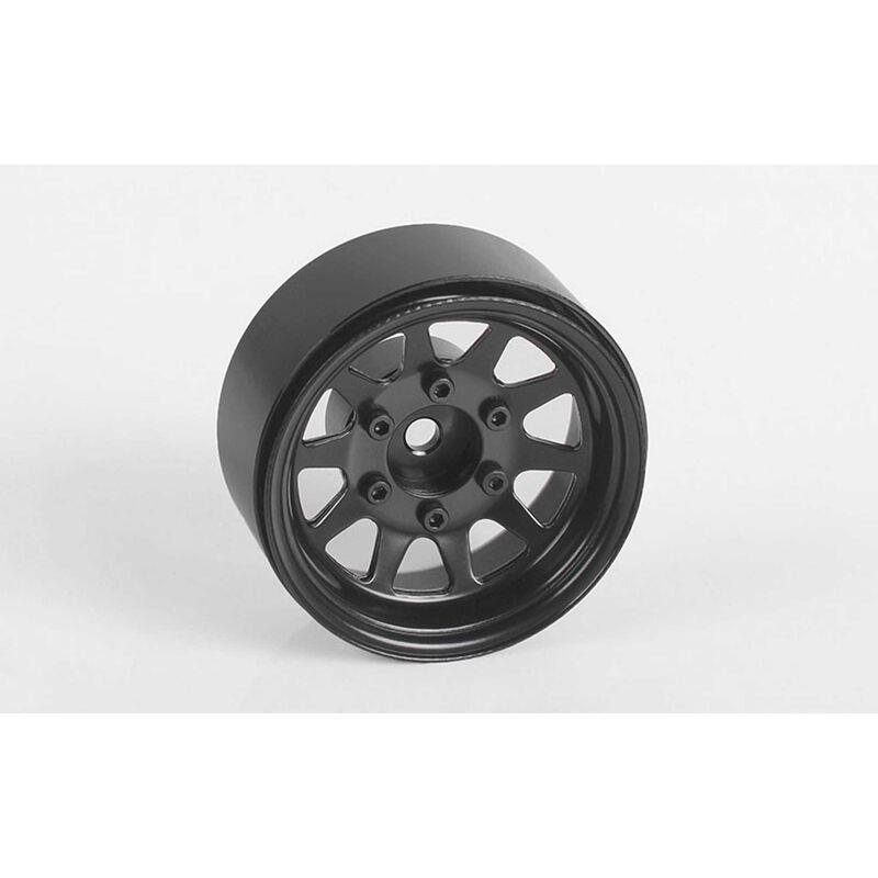 """OEM 6-Lug Stamped Steel 1.55"""" Beadlock Wheels, Black (4)"""