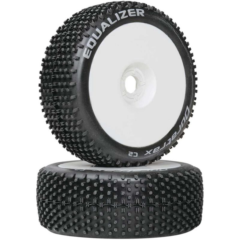 Equalizer 1/8 C2 Mounted Buggy Tires, White (2)