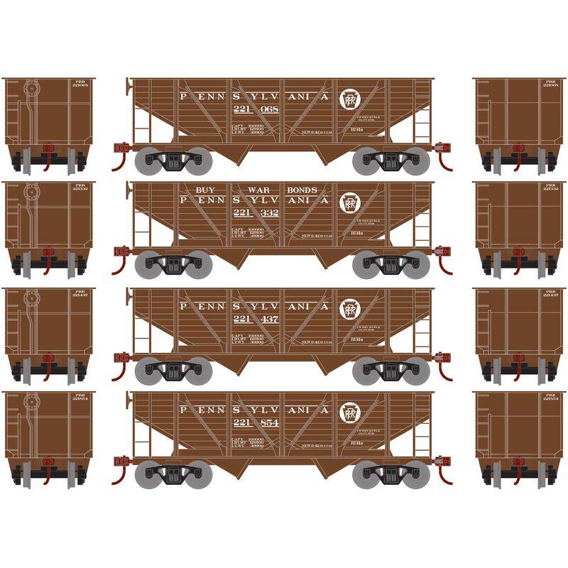 HO 34' 2-Bay Hopper with Coal Load PRR War Bonds#2(4)