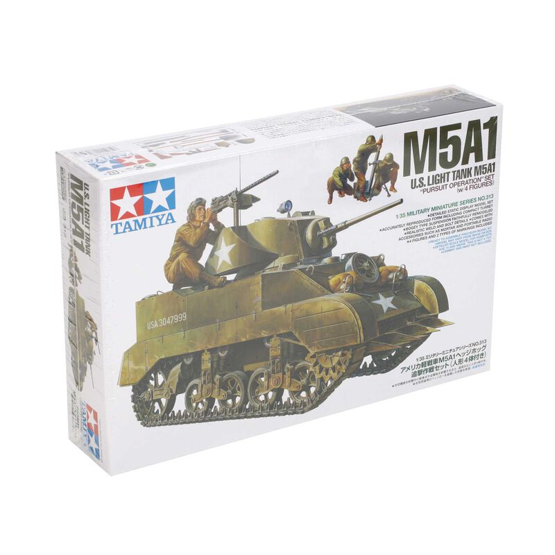 """1/35 US Light Tank M5A1 """"Pursuit Ops"""" with 4 Figures"""
