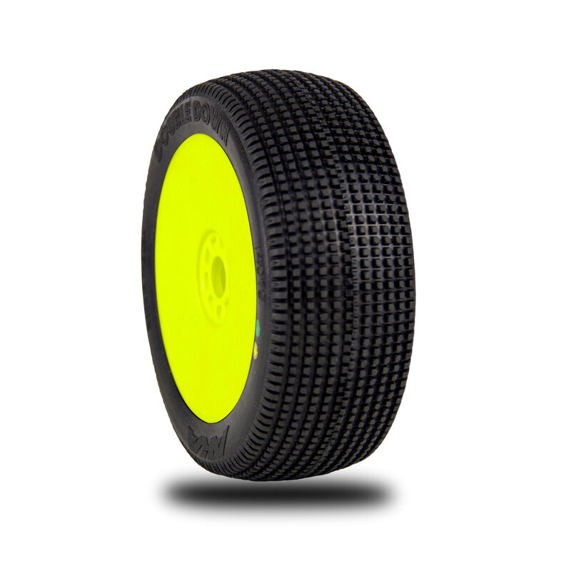 1/8 Double Down EVO Soft Long Wear Front/Rear Wheel Mounted with Red Inserts, Yellow: Buggy (2)