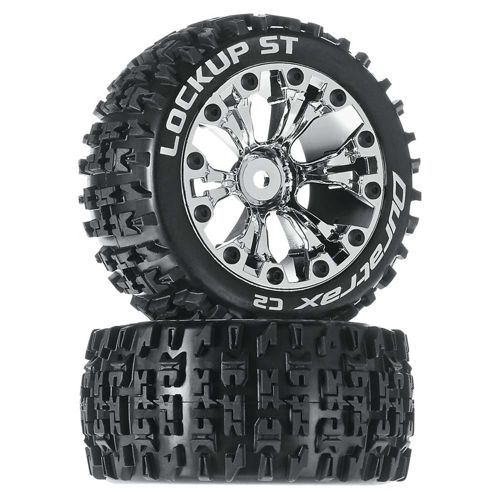 """Lockup ST 2.8"""" 2WD Mounted Rear Tires, Chrome (2)"""