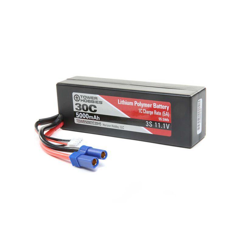 11.1V 5000mAh 30C 3S LiPo, Hardcase: EC5