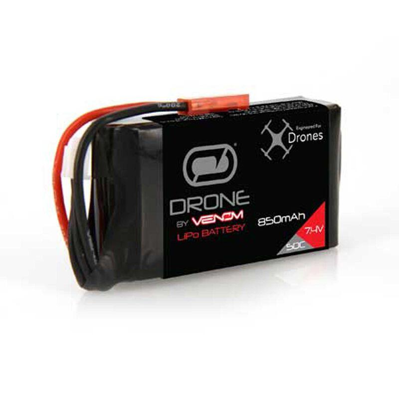 7.4V 850mAh 2S 50C LiPo Drone Battery: JST