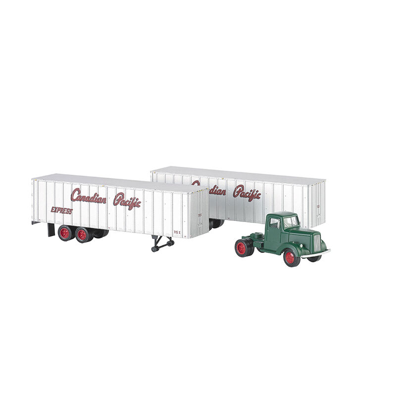 HO 1950s 60s Tractor w 2 Trailers CPR