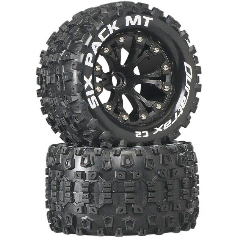 "Six-Pack MT 2.8"" 2WD Mounted Front C2 Tires, Black (2)"