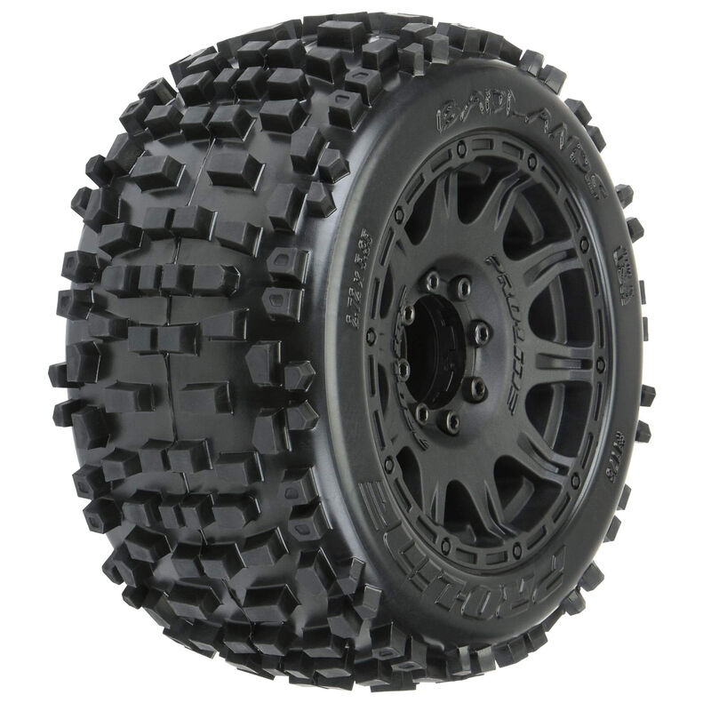 "Badlands 3.8"" All Terrain MT Tires, Raid Black Mounted 8x32 17mm Hex (2)"