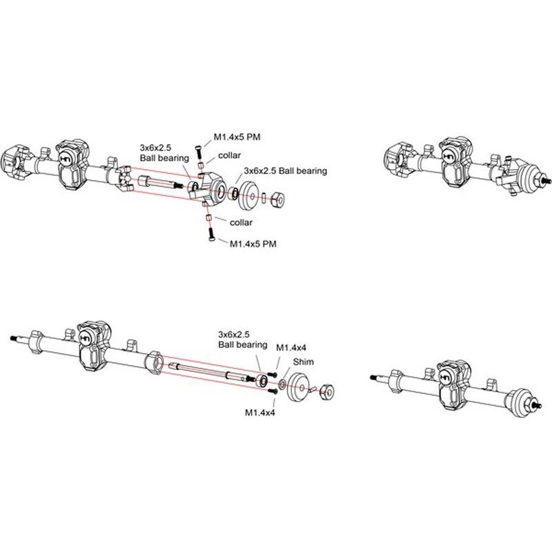+4mm Steel Axles Brass Weight: SCX24