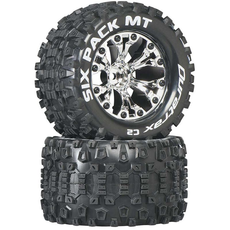"Six-Pack MT 2.8"" 2WD Mounted 1/2"" Offset Tires, Chrome (2)"
