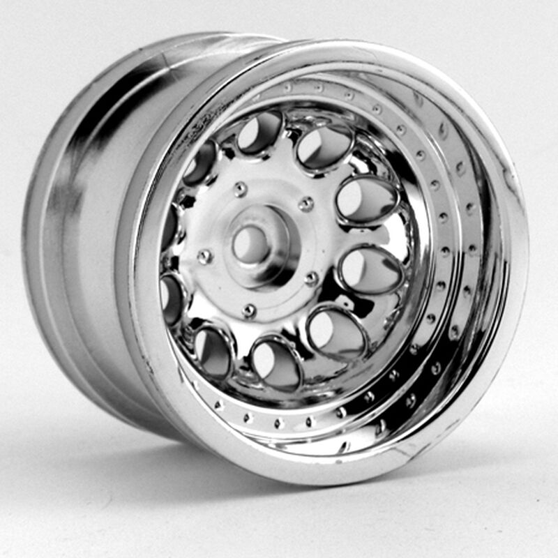 1/10 Revolver Crawler Front/Rear 2.2 Wheels with Wide Base, 12mm Hex, Chrome (2)