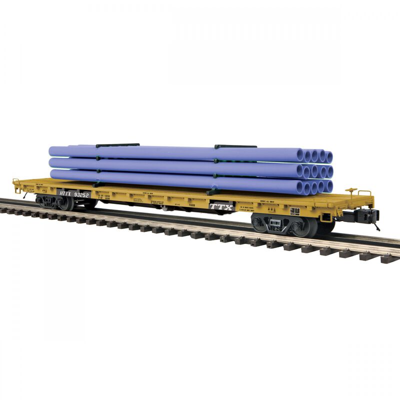 O 60' Flat Car with Pipe Load TTX #93352