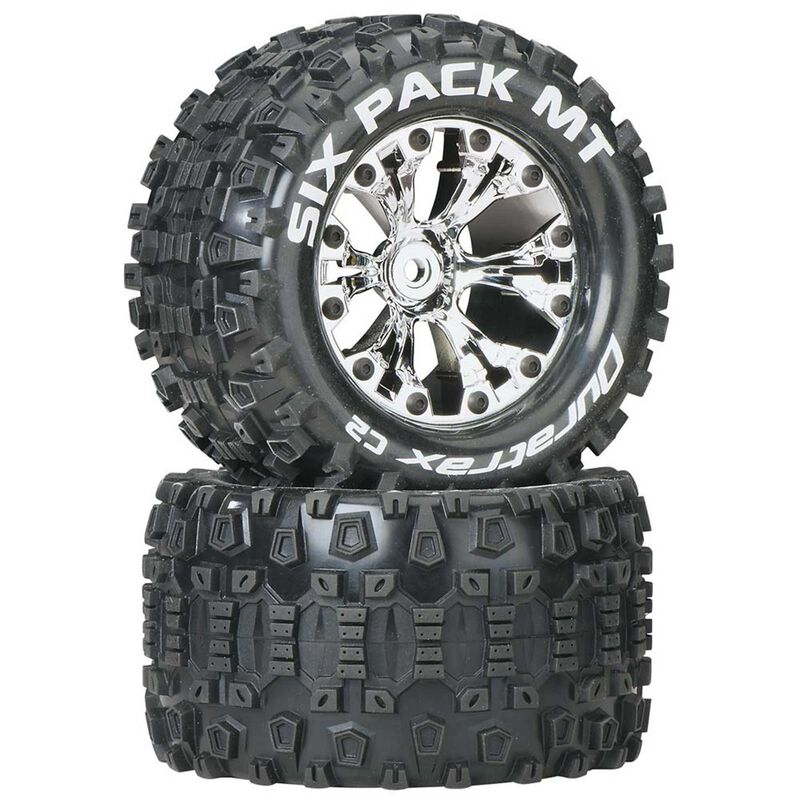 "Six-Pack MT 2.8"" 2WD Mounted Rear C2 Tires, Chrome (2)"