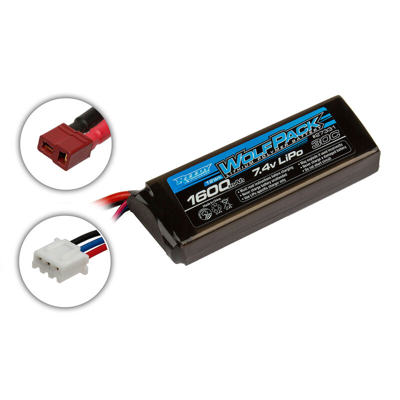 7.4V 1600mAh 2S 30C Reedy Wolfpack LiPo Battery: T-plug