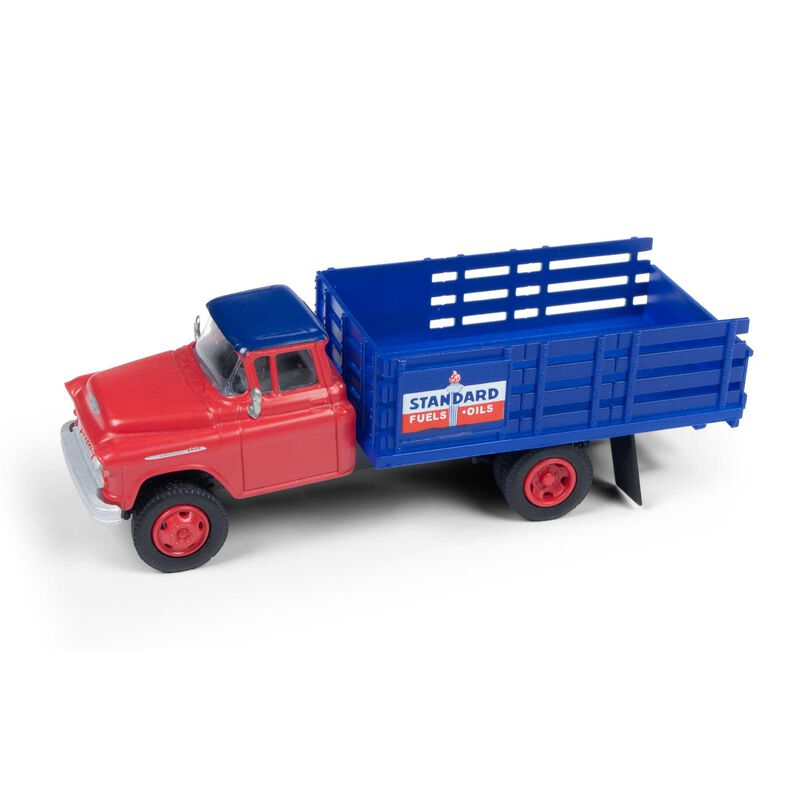 HO 1955 Chevy Stakebed Truck, Standard Red/Blue