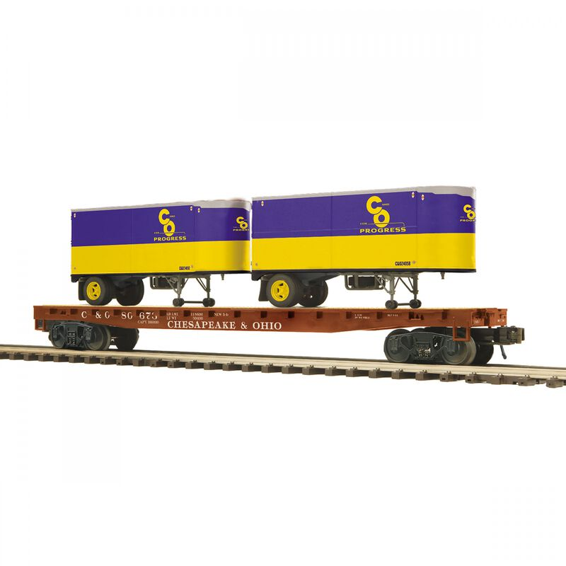 O Flat Car with PUP Trailers C&O #80673 (2)